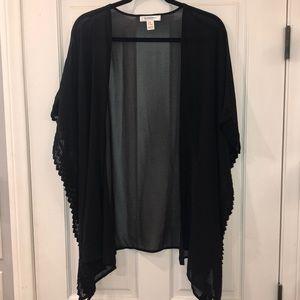 Crochet trim sheer black Kimono